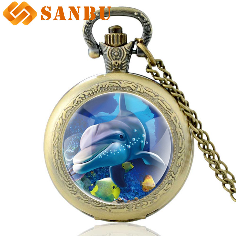 Fashion Retro Dolphin Quartz Pocket Watch Vintage Men Women Charm The Underwater World Retro Pendant Necklace
