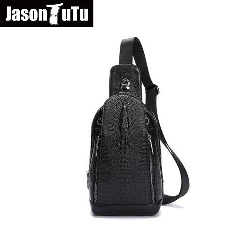 Джейсон пачка натуральная кожа сумки для мужчин груди небольшие пакеты сумки через плечо мужской кожа s сумочка Аллигатор черный Crossbody hn37 ...