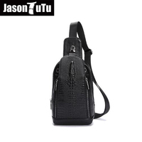 2016 Hot Crocodile Style Genuine Leather Bags For Men Chest Packs Small Messenger Bags Crossbody Male