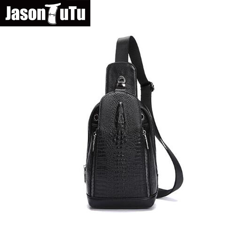 JASON TUTU genuine leather bags for men chest packs small messenger bags male cowhide s handbag Alligator Black crossbody HN37