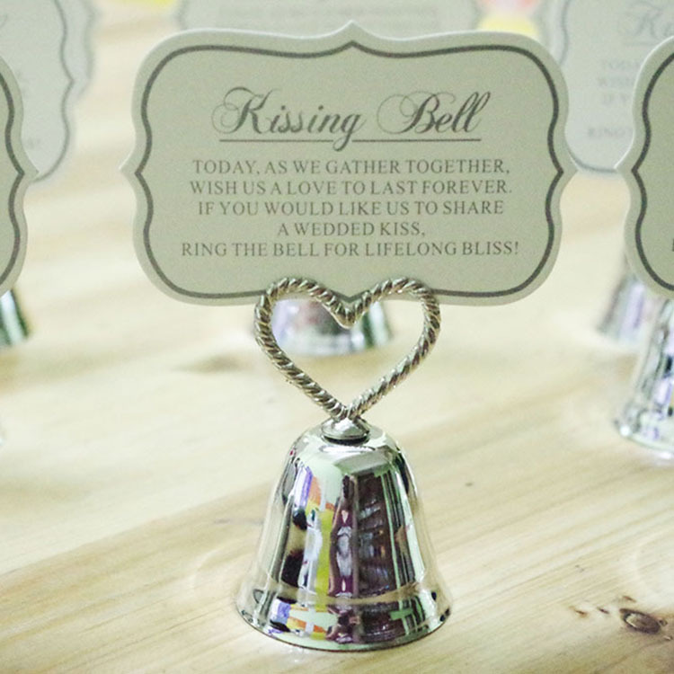 Silver Heart Kissing Bell Place Card Holders Photo Wedding Giveaways From China In Party Favors Home Garden On Aliexpress