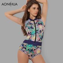 AONIHUA Womens Swimsuit 2019 Print Floral One Piece SwimSuit Sleeveless Swimwear female Zipper Surfing Bathing Suit Beach Wear