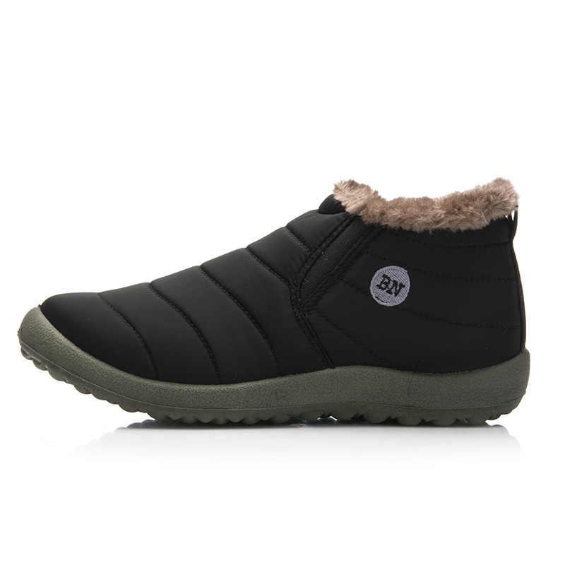 מכירה לוהטת חורף מקרית שלג מגפי גברים Waterproof קרסול מגפיים שטוח להחליק עמיד אופנה איש החורף חם נעלי גדול גודל 35-48