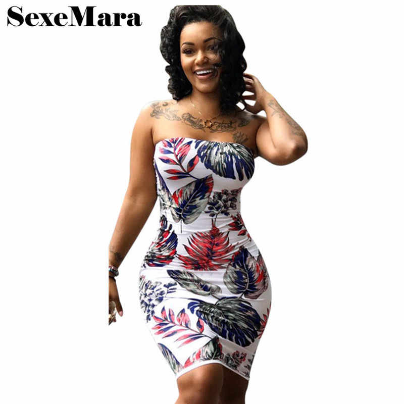ANJAMANOR 2019 Summer Bandage Dress Plus Size Floral Print Sexy Clubwear  Strapless Mini Bodycon Party Dresses be676578535a