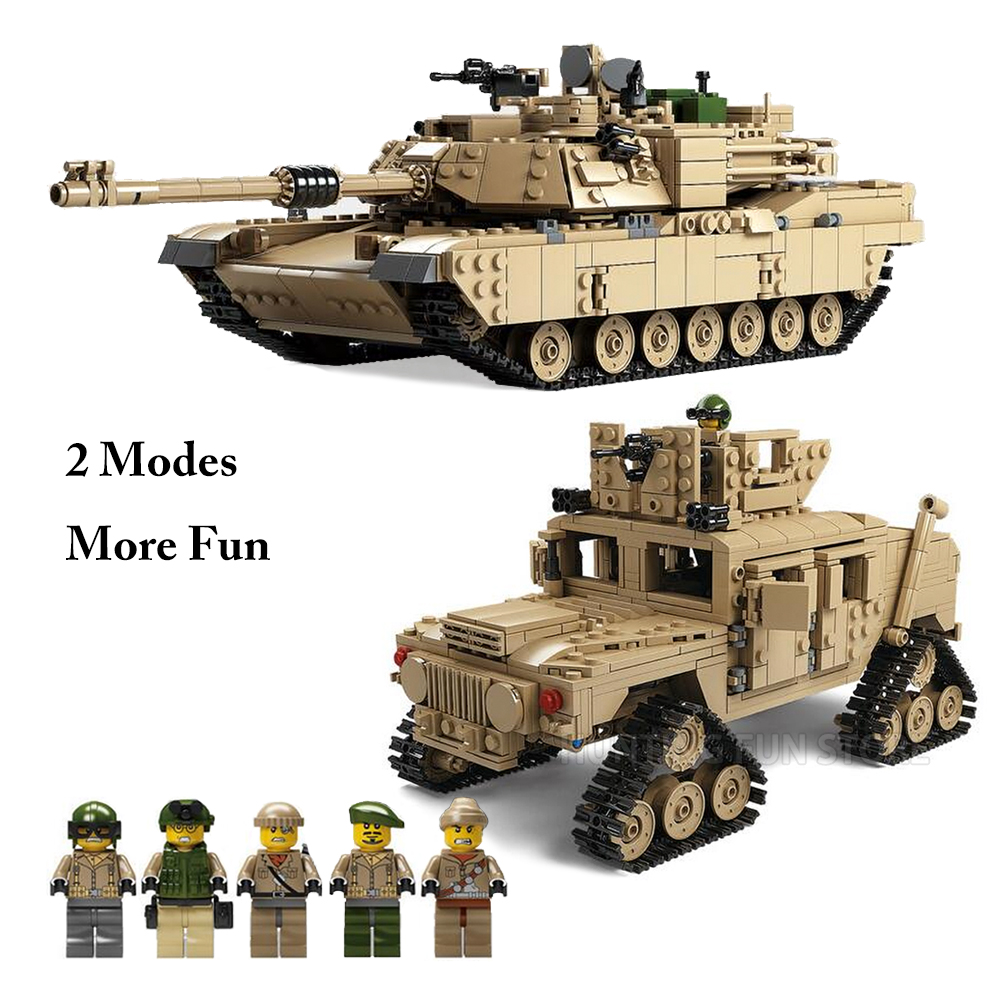 Fit Creator Military M1A2 Abrams MBT Tank Cannon Deformation Hummer 1463pcs Soldier Mini Figures Blocks Toys