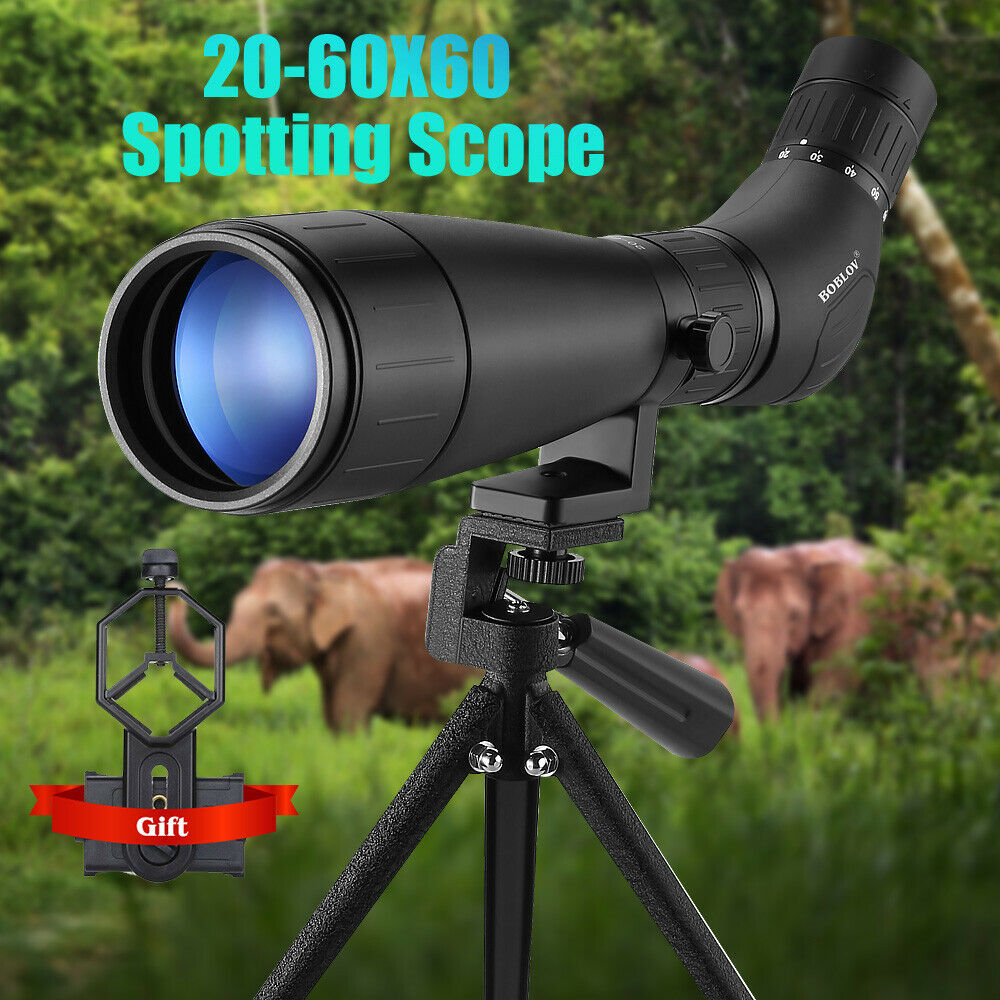 BOBLOV B60HD 20-60X60 Spotting Scope Waterproof BAK4 Prism + Phone Mount with Tripod for Target Shooting
