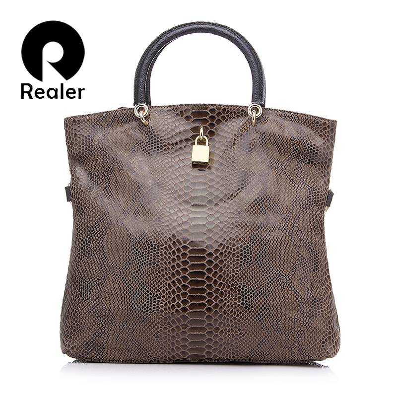 REALER Brand Genuine Leather Bags Female Fashion Snake Pattern Tote Bag Top Qual