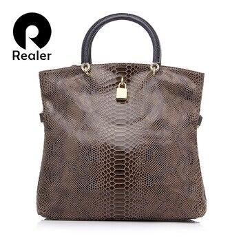 REALER Brand Genuine Leather Bags Female Fashion Snake Pattern Tote Bag Top Quality Leather Handbags Evening Clutch Shoulder Bag