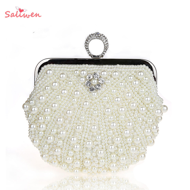 Indian Wedding Gift Bags For Sale : Bag India Diamond Beaded Party Clutch Bags Ring White Pearl Wedding ...