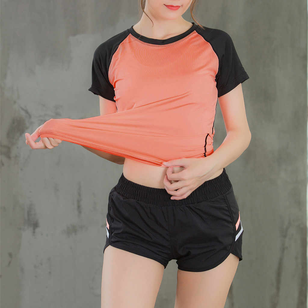 Fitness Women's Quick Drying Shirts Elastic Yoga Sports T Shirt Tights Gym Running Tops Short Sleeve Tees Blouses Shirts