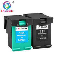 2 Pack 131 135 Refilled Ink Cartridges Replacement for hp131 135 for HP Photosmart C3100 C3183 C3150 C3180 PSC1500 1510 1513