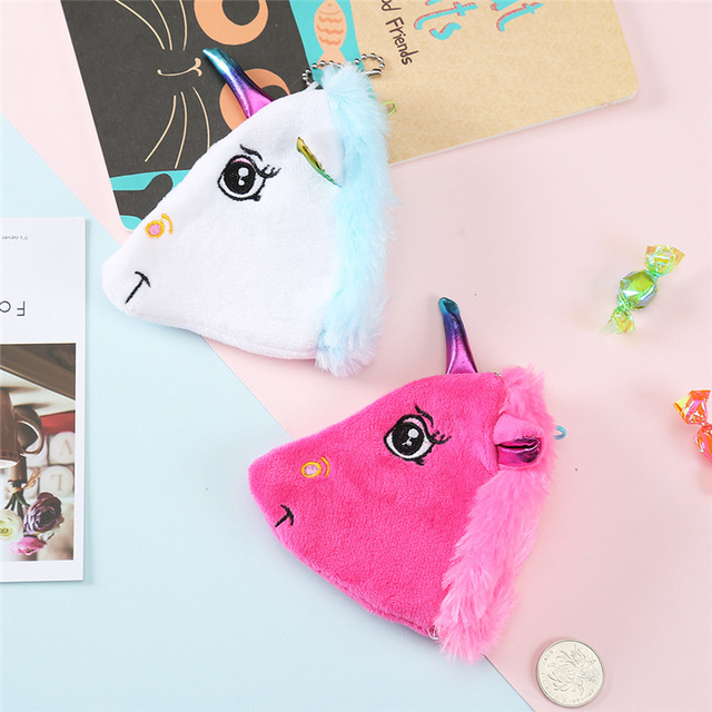 Cute Plush Unicorn Coin Purse Mini Bag For Girls