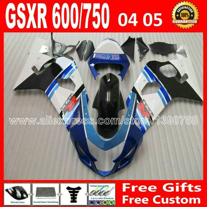 Горячая распродажа для 2004 2005 производство пластмассовых Сузуки GSXR 600 750 белый синий плоский черный обтекатель комплект gsxr600 gsxr750 К4 дуги 04 05 обтекатели комплект
