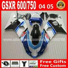 Горячая распродажа для 2004 2005 пластмасс SUZUKI GSXR 600 750 белый синий плоский черный набор зализа K4 gsxr600 арк 04 05 gsxr750 обтекатели комплект