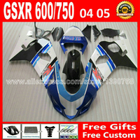 Hot sale for 2004 2005 plastics SUZUKI GSXR 600 750 white blue flat black fairing kit K4 gsxr600 ARC 04 05 gsxr750 fairings kit