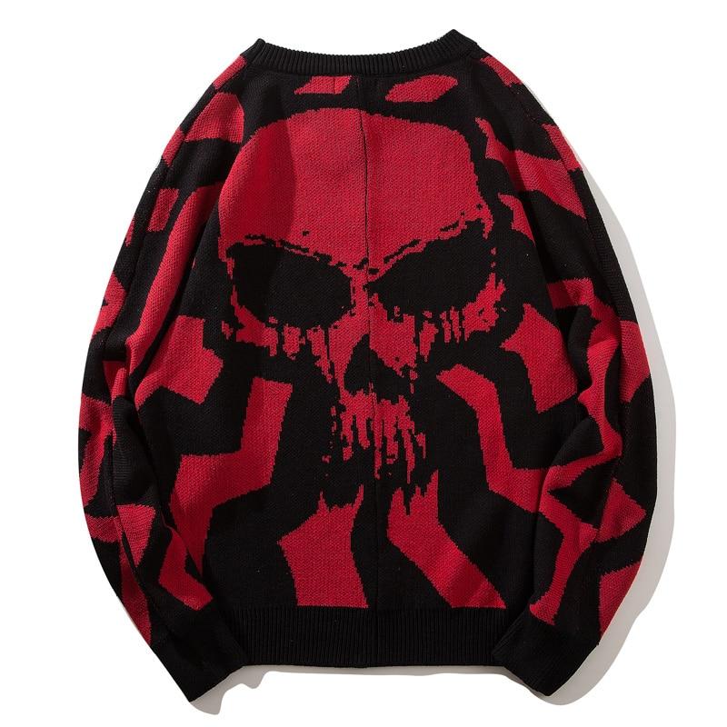 Pull Hommes Mode Surdimensionné Streetwear Chandail Lâche Mâle Hip Automne Hop white Casual Musver Style Red 2019 Hiver Nouveau Crânes pq5tx1