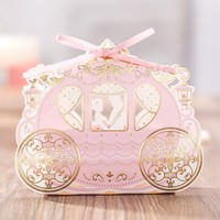 Gold Carriage Candy Box 2016 Romantic Couple Wedding Gift Boxes Wedding Favors Party Packing Boxes