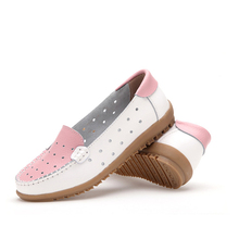 Woman shoes Genuine Leather Loafers Slip On Women's flats Shoes Moccasins for ladies Cut-Outs women casual shoes women 7713