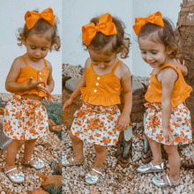 2Pieces Summer New Sweet Baby Girls Clothes Sets Toddler Kids