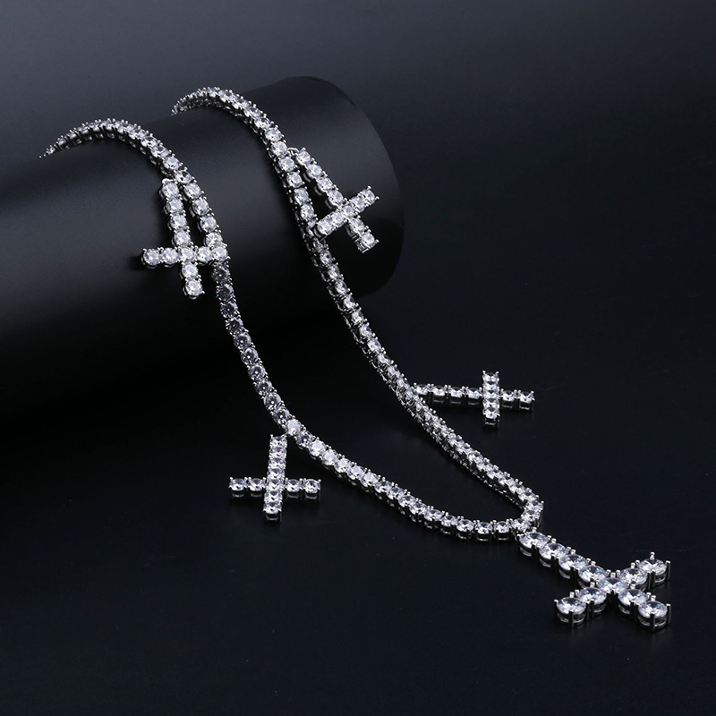 1 Row AAA Cubic Zirconia Tennis Chain Necklaces and 5 PCS CZ Cross Pendants Luxury Men Hip Hop Bling Ice Out Rapper Jewelry