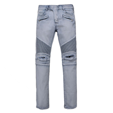 Mens Jeans White masculinaCasual Denim distressed Slim Jeans pants Brand Biker jeans skinny hole rock ripped jeans homme JW103