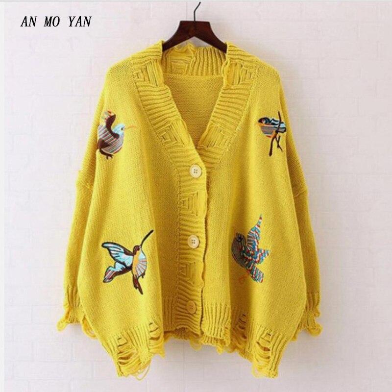 An Mo Yan новый женский вязаный хлопковый желтый свитер птица