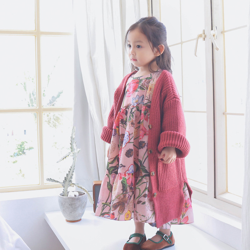 1-7 Years Old Baby Girl Sweater Children Clothes 2018 Spring Long Down Sweater Cardigan Jacket Cardigan For Toddler Girls 2018 baby girls red cardigan floral design cute spring coat for children teenage spring clothes age 456789 10 11 12 years old