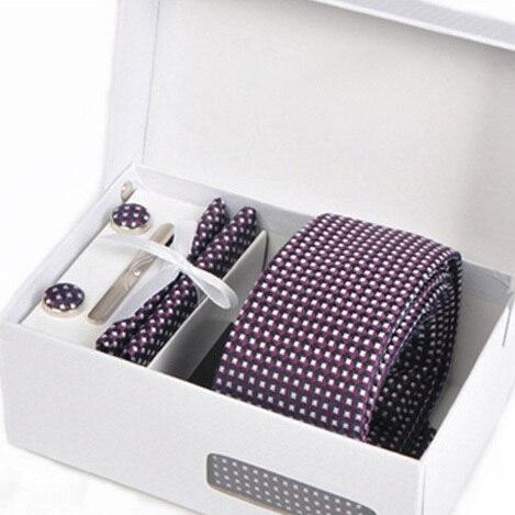 2016 hombres de punto morado kravat caballero de negocios formal corbata gravata corbatas hombre mariage boda gemelos pañuelo corbata set