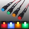 Car Auto LED Dash Board Panel Warning Light Indicator Lamp Red Blue Green Amber Waterproof 12V 10/12mm Car Light Source