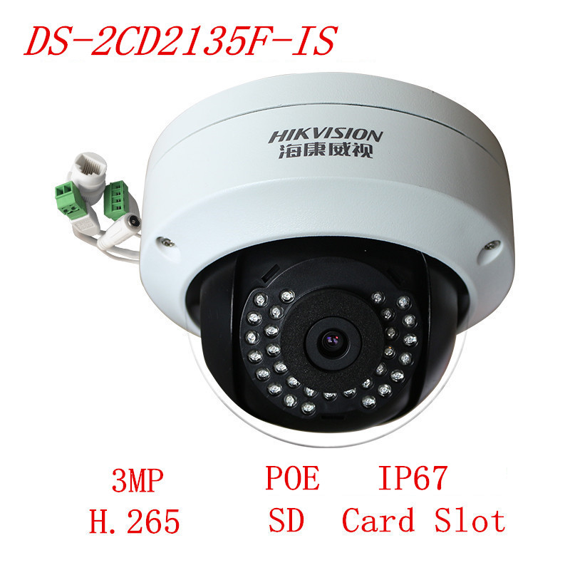 Hikvision Camera Multi-Language DS-2CD2135F-IS Dome IP Camera Support PoE H.265 CCTV Camera System Network Camera multi language ds 2cd2135f is 3mp dome ip camera h 265 ir 30m support onvif poe replace ds 2cd2132f is security camera