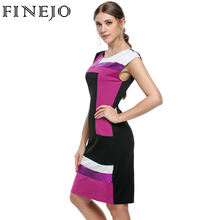 FINEJO Bodycon Patchwork Contrast Color Short Sleeve Dress