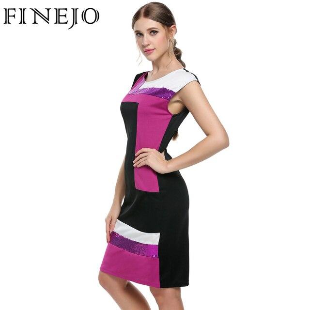 FINEJO Women Fashion Sexy Bodycon Dress Vestidos Geometrical Patchwork Contrast Color Short Sleeve O-neck Pencil Dress S-XXXL