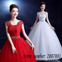Real Photo Red White Square Collar Wedding Dresses Custom Made Plus Size Princess Sequins Bride Frocks