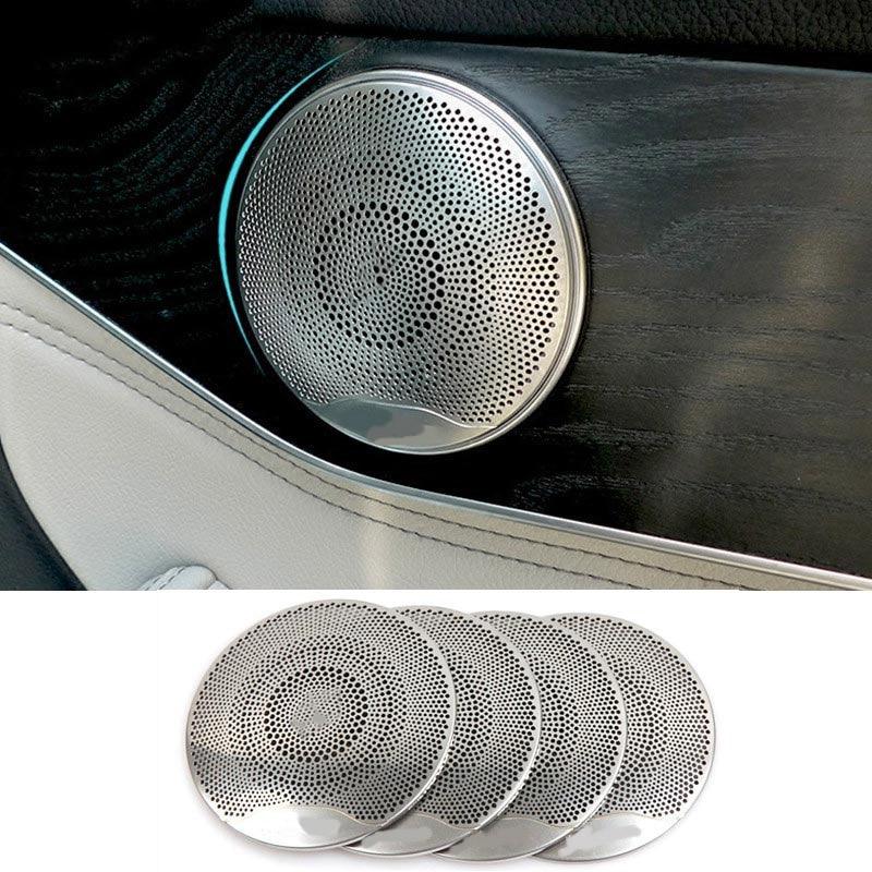 acero inoxidable cubierta de altavoz de puerta para Clase E//C//GLC W213 W205 Cubierta de altavoz de audio para coche 4 unidades