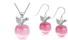 Free Shipping New Perfect Opals /100%925 Sterling Silver Apple Pendant Necklace/Earrings Jewelry Set With Rhinestone Nickel Free