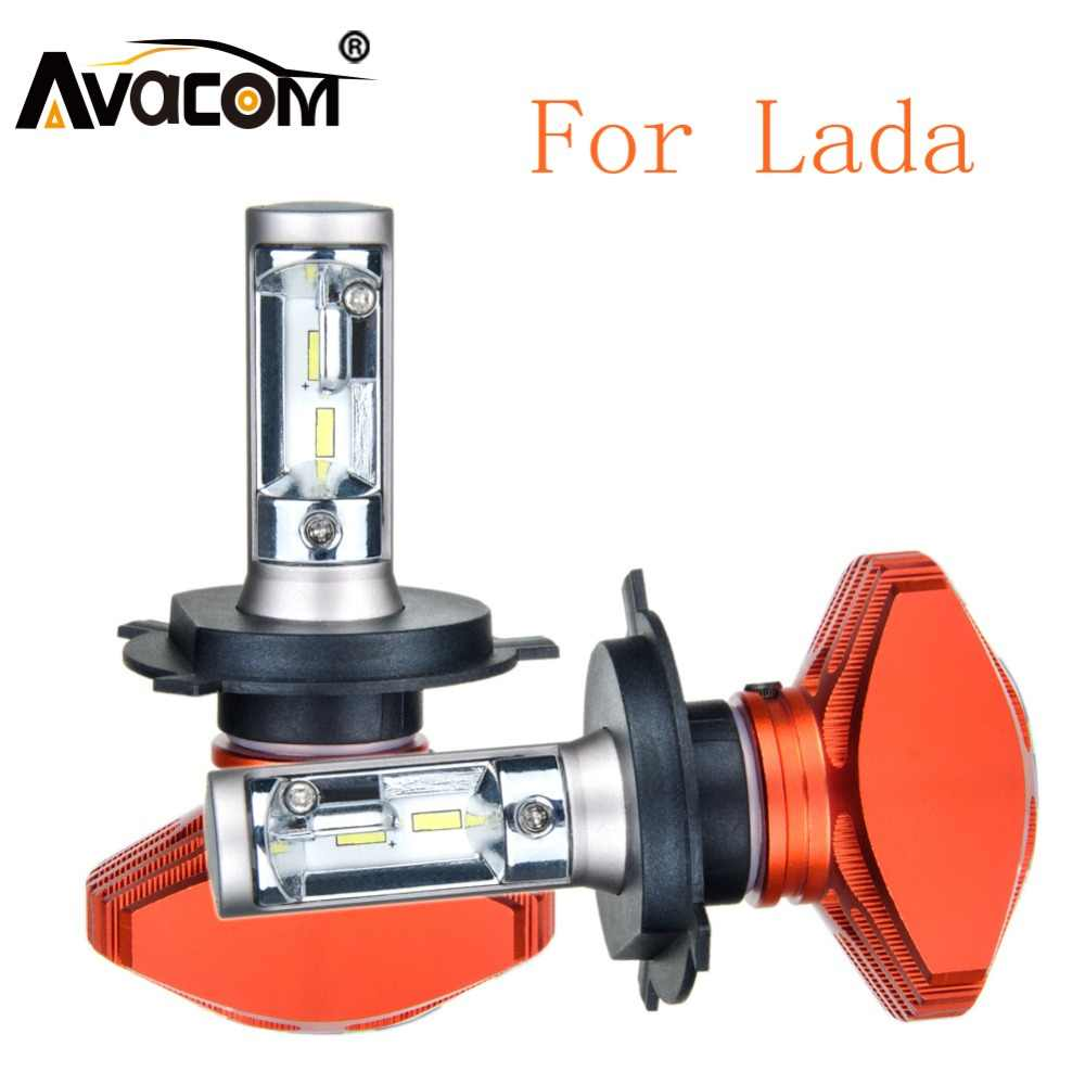 2Pcs LED Car Light Bulb 12V H1 H4 H7 H11 9005 9006 CSP 6500K White 80W Automobiles Lamp For Lada Granta/Niva/Vesta/Priora