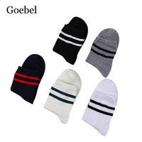 Goebel Man Cotton Socks Breathable Thin Section Men Business Socks Medium Tube Stripe Male Tube Socks