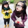 Niños clothing sudadera niño otoño y el invierno niño gruesa, además de terciopelo t-shirt printting star baby invierno ropa superior