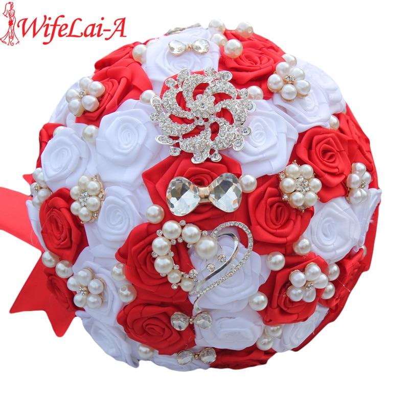 WifeLai-A 1Silk Red White Bow Crystal Broche Wedding Bouquet Satén Flores Artificiales Ramo de Novia ramos de novia W112
