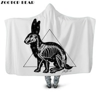 Hot Geometric Hooded Blanket Rabbit Popular Animal 3D printed White Wearable Fashion Soft Throw Blankets Portable Adults Bedding