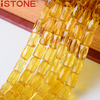 ISTONE 8x12 MÉT Đá Quý Tổng Hợp Citrin Beads Mặt Hình Trụ Ống hạt 16 inch Cho DIY Vận Chuyển Miễn Phí