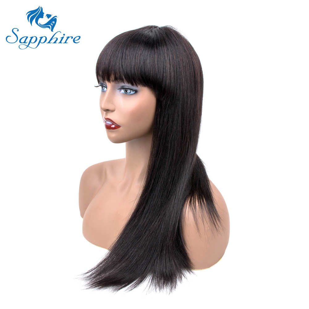 Sapphire Braziliaanse Straight Menselijk Haar Pruiken Met Bang Braziliaanse Remy Haar Fringe Lange Rechte Human Hair Pruiken 150% Dichtheid