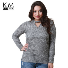 kissmilk 2018 Plus Size Solid Gray Women T-shirts Hollow Out Long Sleeve V-neck Female Clothing Casual Big Size Lady Tops все цены