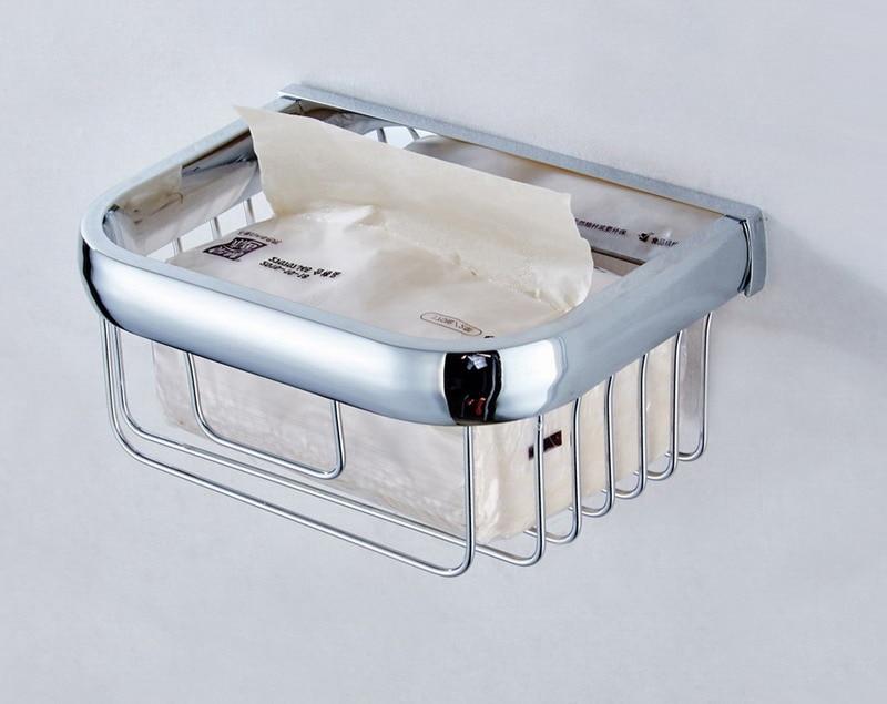Polished Chrome Brass Square Wall Mounted Bathroom Toilet Paper Roll Basket Holder Shelf Bathroom Accessory mba535