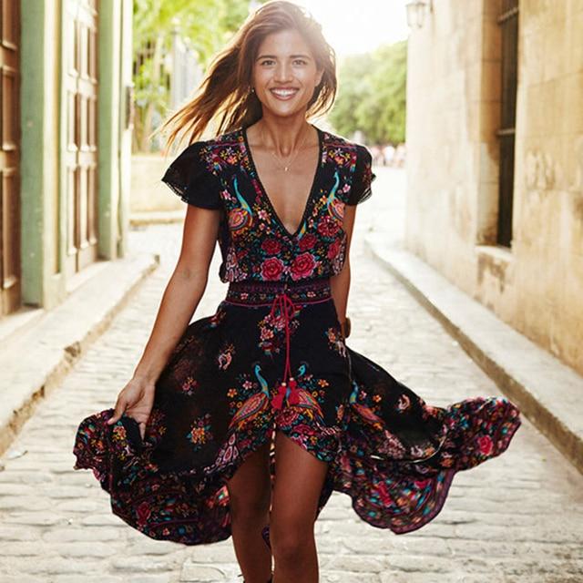 Новинка 2019, женское летнее платье с v-образным вырезом, винтажное длинное платье в стиле бохо, шифоновое платье с цветочным принтом, вечерние платья, Пляжное платье, сарафан с цветочным рисунком