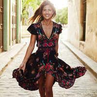 2020 Neue Frauen Sommer V-ausschnitt Vintage Boho Lange Maxi Floral Nationalen Chiffon Kleid Party Strand Kleid Floral Sommerkleid