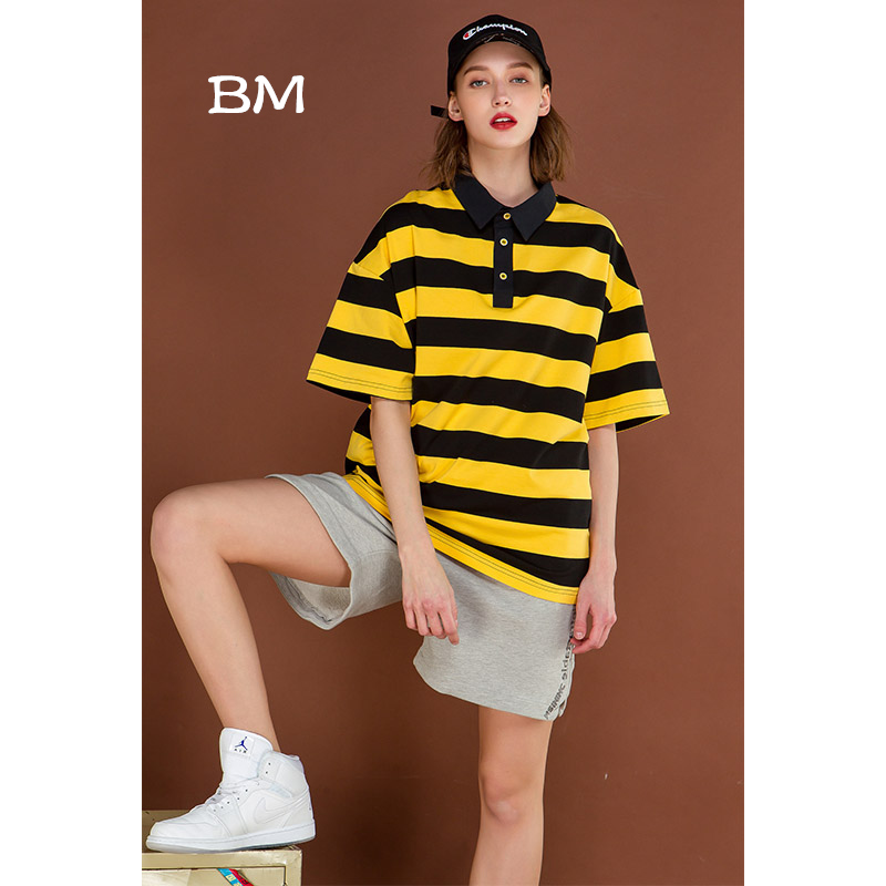 hip hop   polos   mujer Striped oversized   polo   shirt women loose streetwear high quality short sleeve Neutral style fashion camiseta