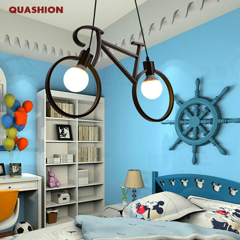 Modern Bicycle Pendant Light Children Room Pendant Lamp Black White Bike Droplight Bedroom Light Fixture Restaurant avize