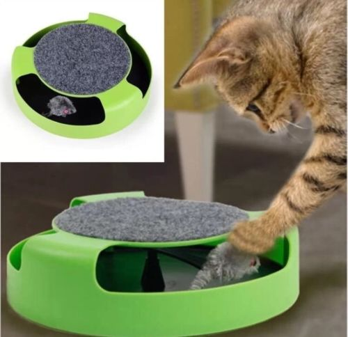 Pet Cat Kitten Catch The Mouse Moving Plush Toy Scratching Claw Care Mat Play Training Funny Toys