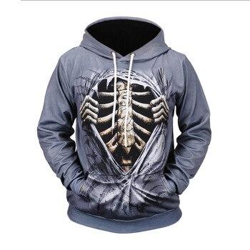 3D Digital Printing Opend Bones Hoodies